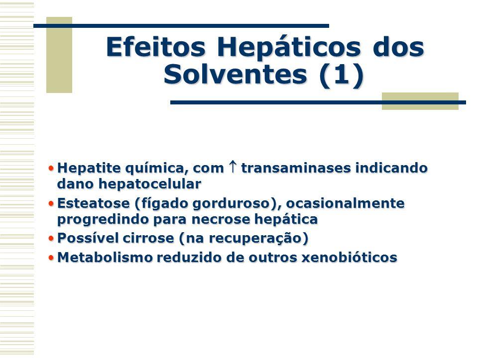 Efeitos Hepáticos dos Solventes (1) Hepatite química, com transaminases indicando dano hepatocelularHepatite química, com transaminases indicando dano