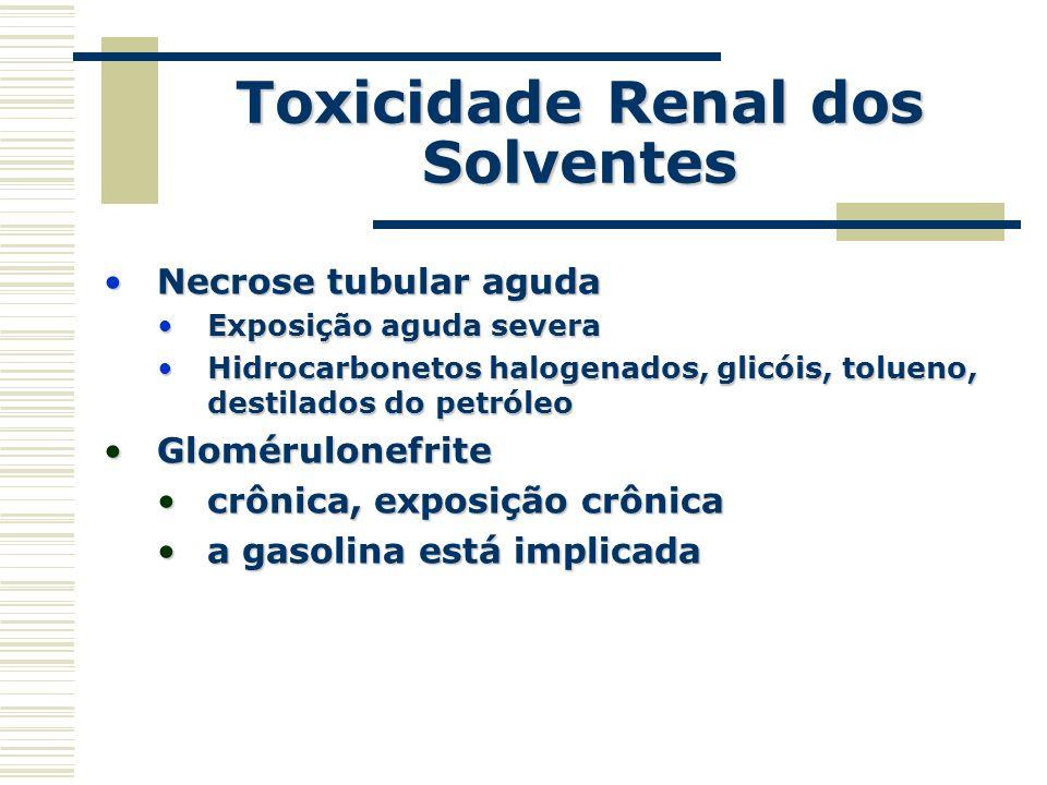 Toxicidade Renal dos Solventes Necrose tubular agudaNecrose tubular aguda Exposição aguda severaExposição aguda severa Hidrocarbonetos halogenados, gl