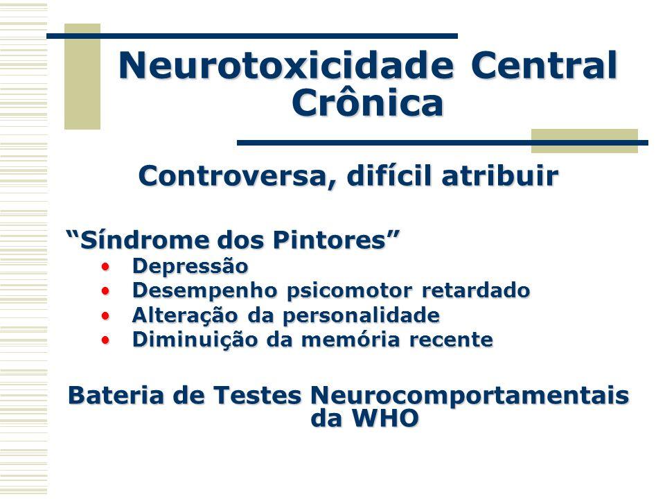 Neurotoxicidade Central Crônica Controversa, difícil atribuir Síndrome dos Pintores DepressãoDepressão Desempenho psicomotor retardadoDesempenho psico
