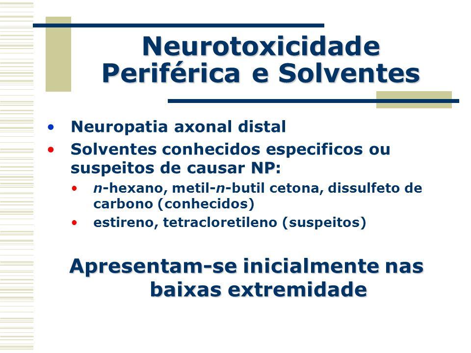 Neurotoxicidade Periférica e Solventes Neuropatia axonal distal NPSolventes conhecidos especificos ou suspeitos de causar NP: n-hexano, metil-n-butil