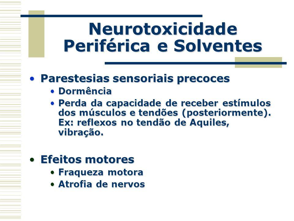 Neurotoxicidade Periférica e Solventes Parestesias sensoriais precocesParestesias sensoriais precoces DormênciaDormência Perda da capacidade de recebe
