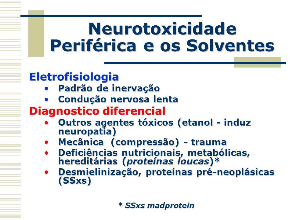 Neurotoxicidade Periférica e os Solventes Eletrofisiologia Padrão de inervaçãoPadrão de inervação Condução nervosa lentaCondução nervosa lenta Diagnos