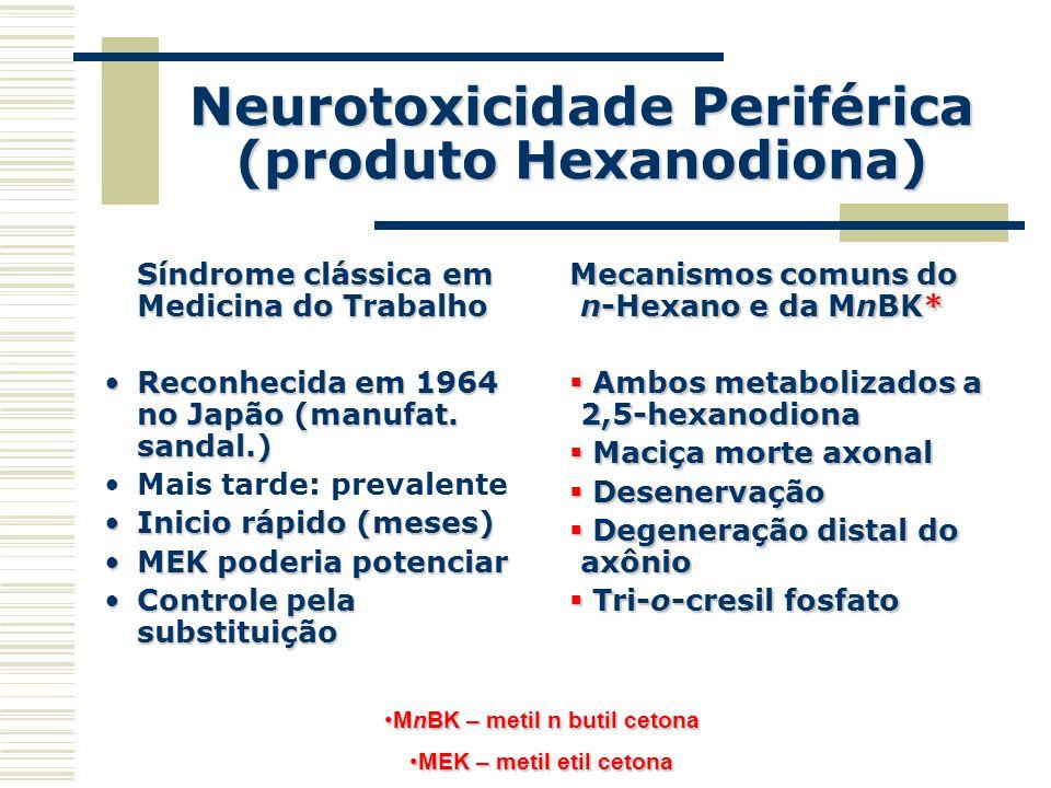 Neurotoxicidade Periférica (produto Hexanodiona) Síndrome clássica em Medicina do Trabalho Reconhecida em 1964 no Japão (manufat. sandal.)Reconhecida