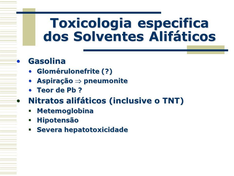 Toxicologia especifica dos Solventes Alifáticos GasolinaGasolina Glomérulonefrite (?)Glomérulonefrite (?) Aspiração pneumoniteAspiração pneumonite Teo