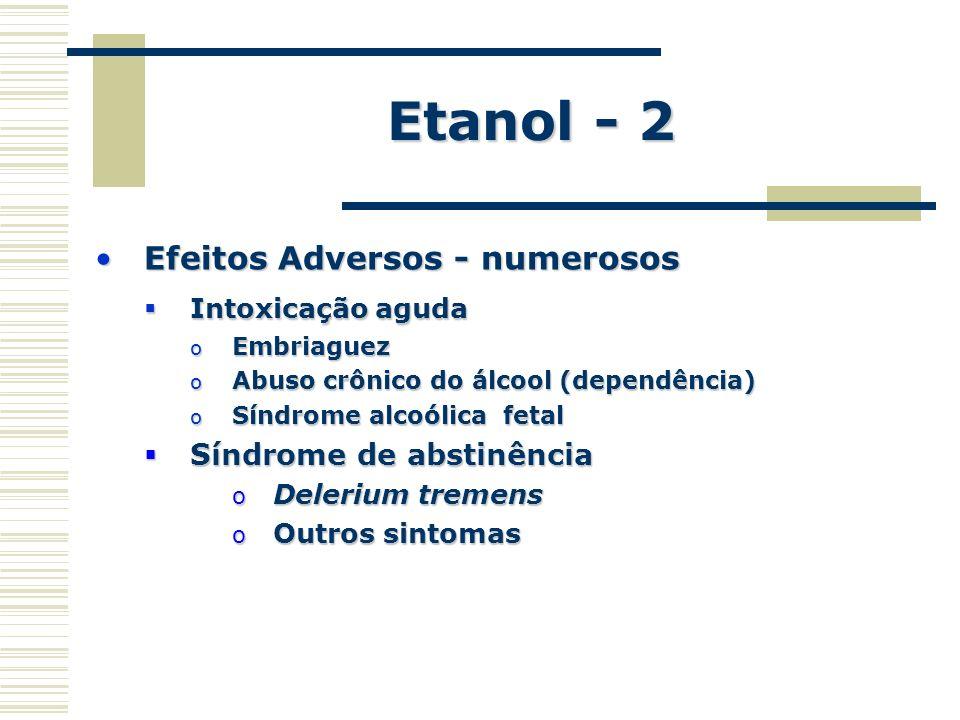 Etanol - 2 Efeitos Adversos - numerososEfeitos Adversos - numerosos Intoxicação aguda Intoxicação aguda o Embriaguez o Abuso crônico do álcool (depend