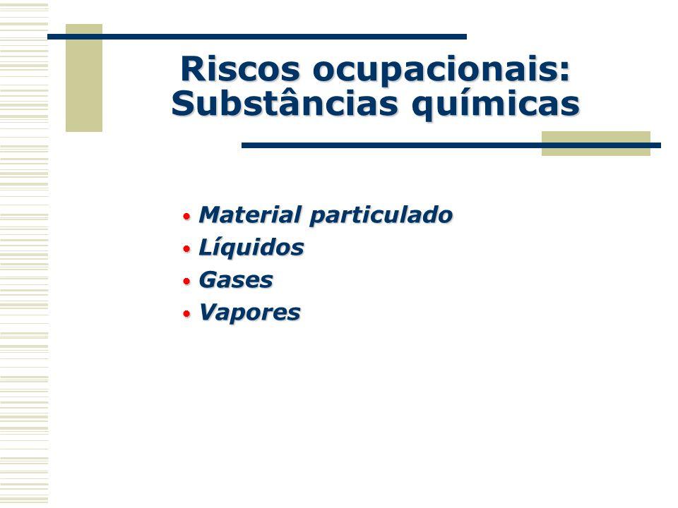 Riscos ocupacionais: Substâncias químicas Material particulado Material particulado Líquidos Líquidos Gases Gases Vapores Vapores