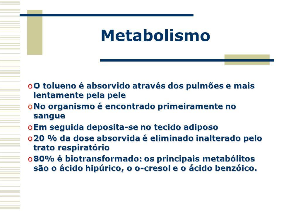 Metabolismo oO tolueno é absorvido através dos pulmões e mais lentamente pela pele oNo organismo é encontrado primeiramente no sangue oEm seguida depo