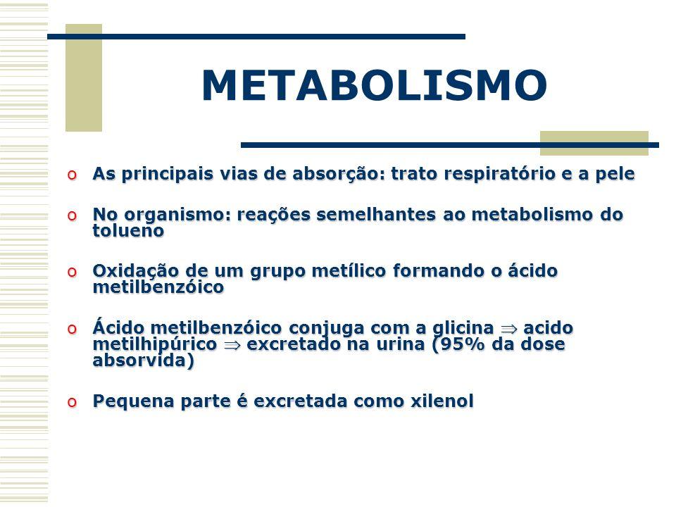 METABOLISMO oAs principais vias de absorção: trato respiratório e a pele oNo organismo: reações semelhantes ao metabolismo do tolueno oOxidação de um