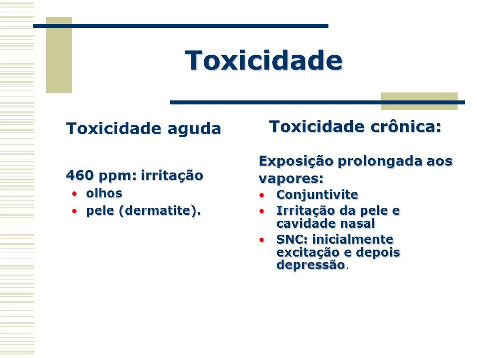 Toxicidade Toxicidade aguda 460 ppm: irritação 460 ppm: irritação olhosolhos pele (dermatite).pele (dermatite). Toxicidade crônica: Exposição prolonga