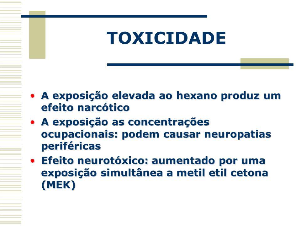 TOXICIDADE A exposição elevada ao hexano produz um efeito narcóticoA exposição elevada ao hexano produz um efeito narcótico A exposição as concentraçõ