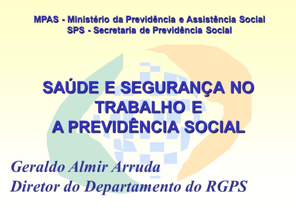 MPAS - Ministério da Previdência e Assistência Social SPS - Secretaria de Previdência Social SAÚDE E SEGURANÇA NO TRABALHO E A PREVIDÊNCIA SOCIAL Gera