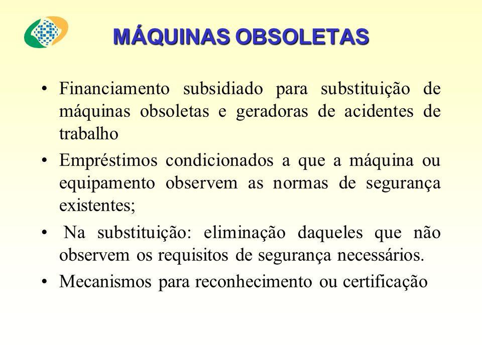 MÁQUINAS OBSOLETAS Financiamento subsidiado para substituição de máquinas obsoletas e geradoras de acidentes de trabalho Empréstimos condicionados a q