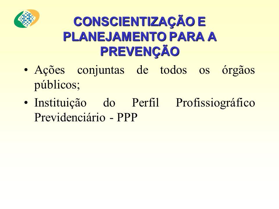 CONSCIENTIZAÇÃO E PLANEJAMENTO PARA A PREVENÇÃO Ações conjuntas de todos os órgãos públicos; Instituição do Perfil Profissiográfico Previdenciário - P