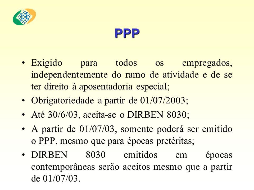 PPP Exigido para todos os empregados, independentemente do ramo de atividade e de se ter direito à aposentadoria especial; Obrigatoriedade a partir de