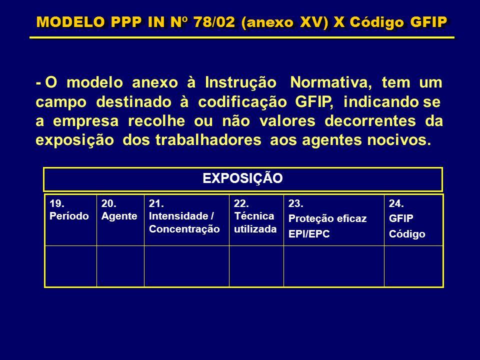 MODELO PPP IN Nº 78/02 (anexo XV) X Código GFIP - O modelo anexo à Instrução Normativa, tem um campo destinado à codificação GFIP, indicando se a empr