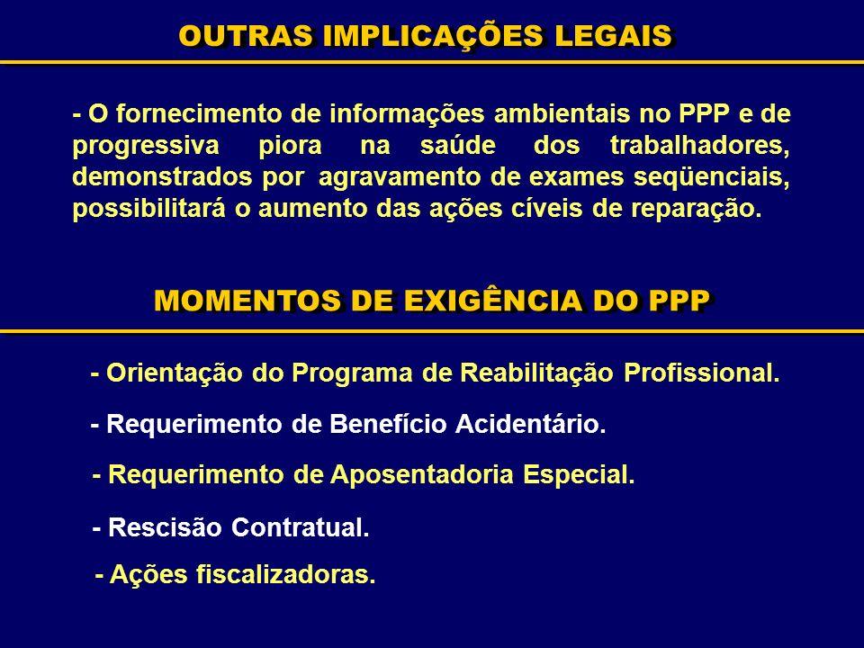 OUTRAS IMPLICAÇÕES LEGAIS - O fornecimento de informações ambientais no PPP e de progressiva piora na saúde dos trabalhadores, demonstrados por agrava