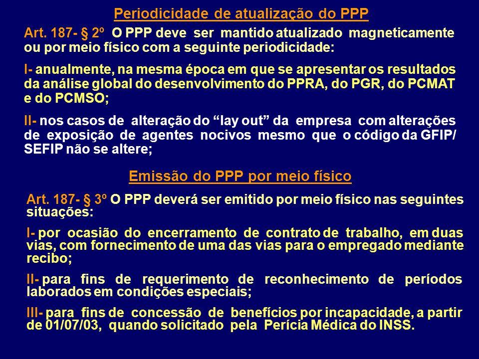 Periodicidade de atualização do PPP Art. 187- § 2º O PPP deve ser mantido atualizado magneticamente ou por meio físico com a seguinte periodicidade: I