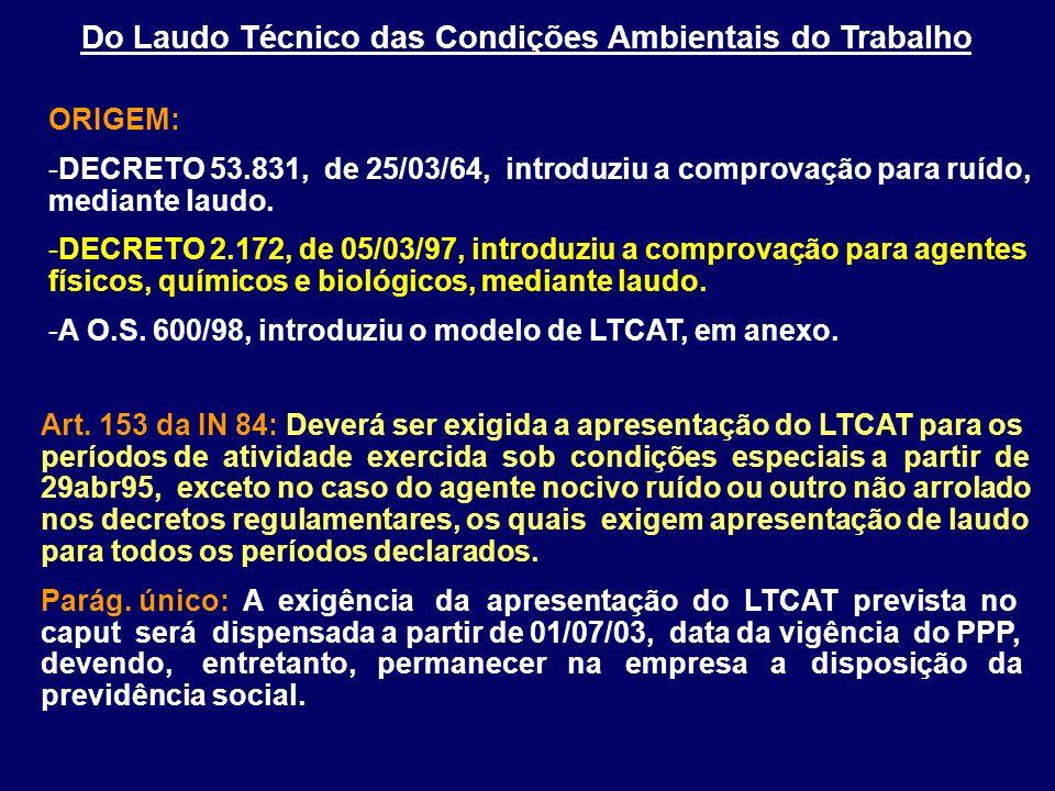 Art. 153 da IN 84: Deverá ser exigida a apresentação do LTCAT para os períodos de atividade exercida sob condições especiais a partir de 29abr95, exce