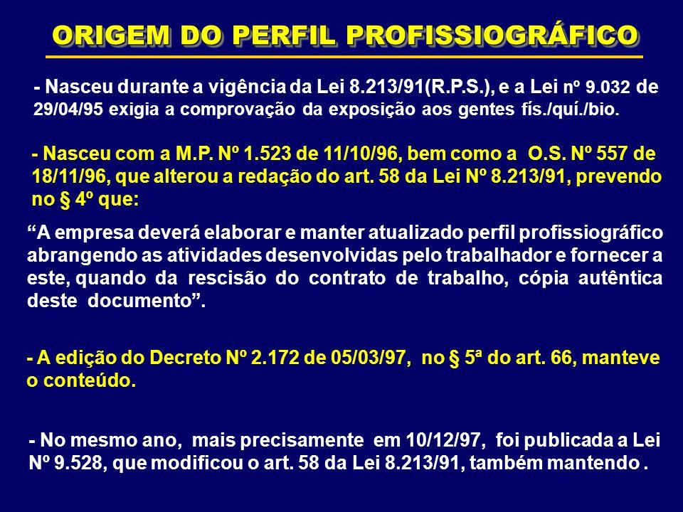 ORIGEM DO PERFIL PROFISSIOGRÁFICO - Nasceu com a M.P. Nº 1.523 de 11/10/96, bem como a O.S. Nº 557 de 18/11/96, que alterou a redação do art. 58 da Le