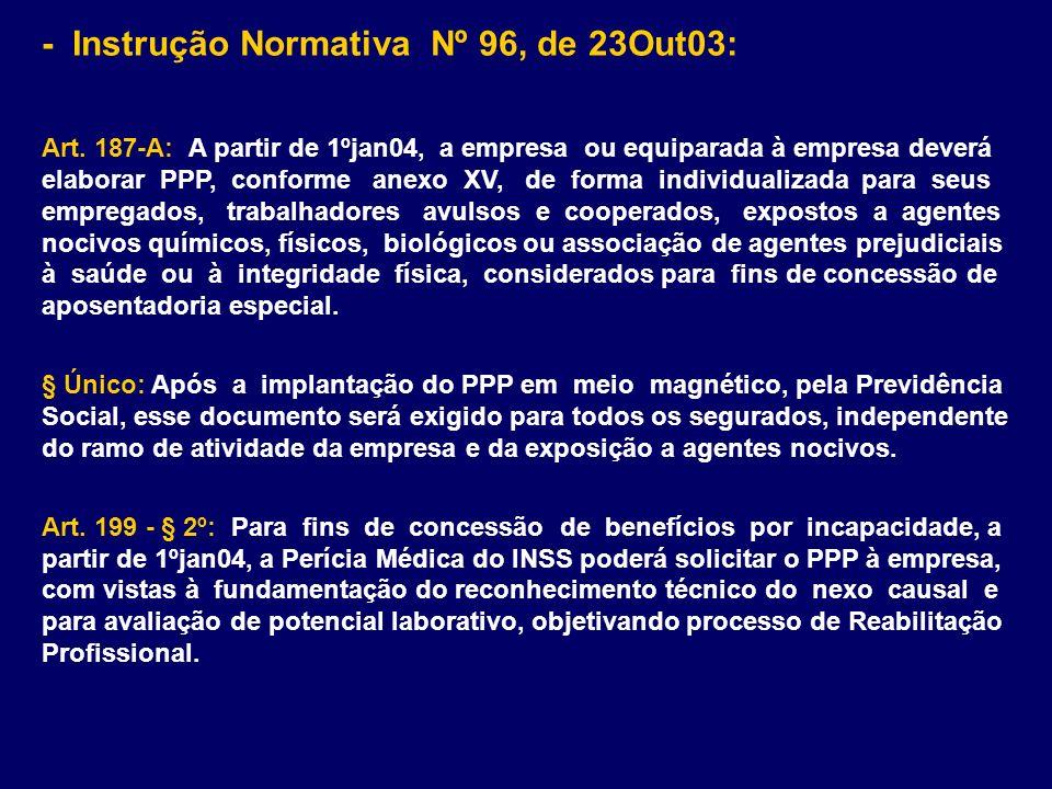 - Instrução Normativa Nº 96, de 23Out03: Art. 187-A: A partir de 1ºjan04, a empresa ou equiparada à empresa deverá elaborar PPP, conforme anexo XV, de
