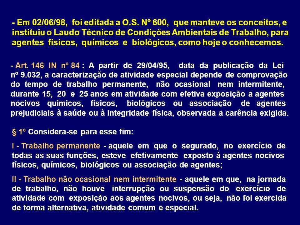 - Art. 146 IN nº 84 : A partir de 29/04/95, data da publicação da Lei nº 9.032, a caracterização de atividade especial depende de comprovação do tempo