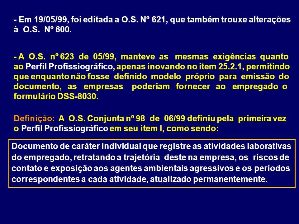 - Em 19/05/99, foi editada a O.S. Nº 621, que também trouxe alterações à O.S. Nº 600. - A O.S. nº 623 de 05/99, manteve as mesmas exigências quanto ao