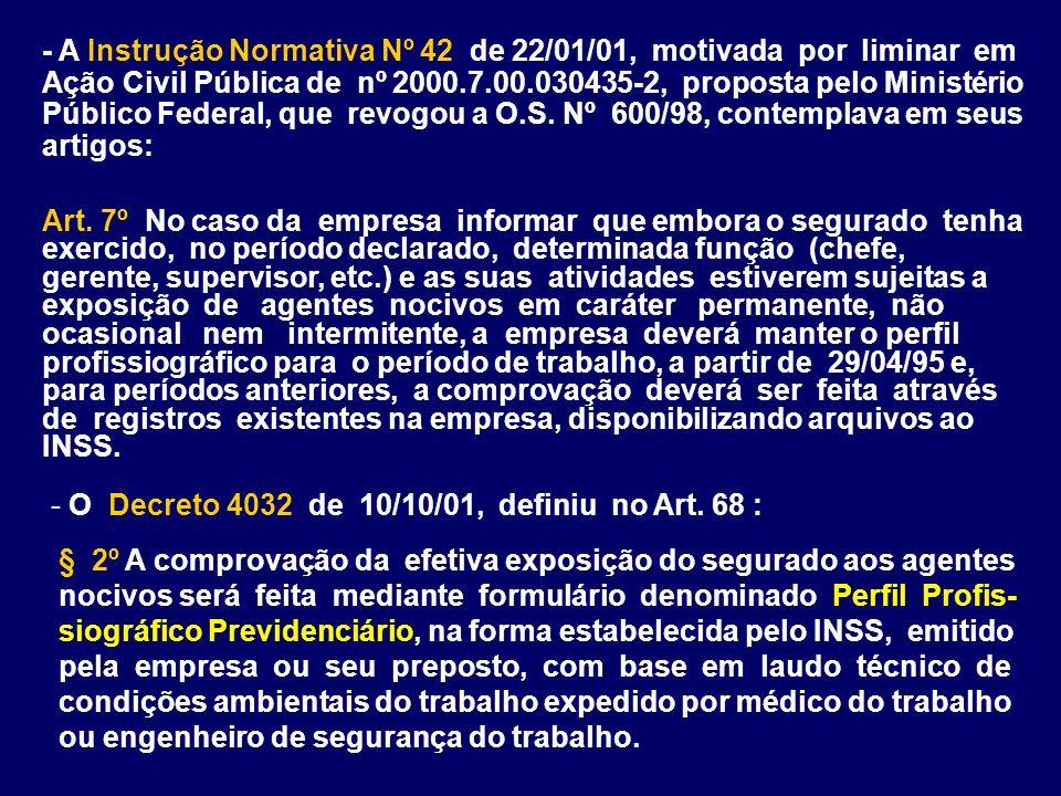 - A Instrução Normativa Nº 42 de 22/01/01, motivada por liminar em Ação Civil Pública de nº 2000.7.00.030435-2, proposta pelo Ministério Público Feder