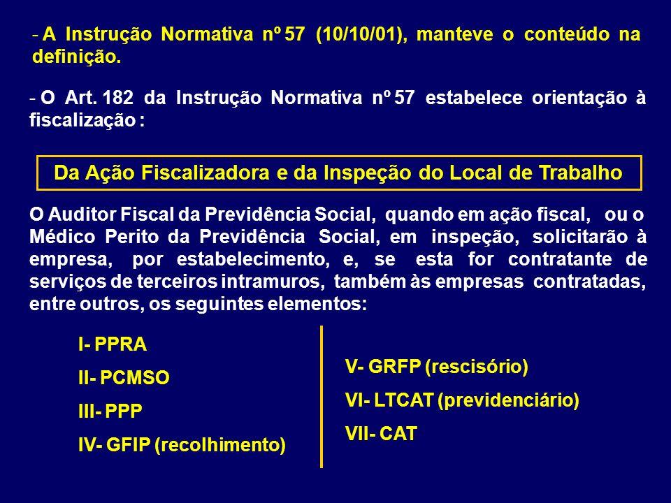 - A Instrução Normativa nº 57 (10/10/01), manteve o conteúdo na definição. - O Art. 182 da Instrução Normativa nº 57 estabelece orientação à fiscaliza