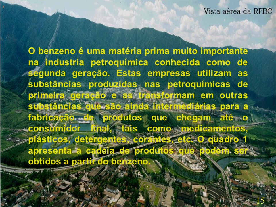 14 No Brasil, existem três petroquímicas ( COPENE,localizada em Camaçari/Bahia – COPESUL, em Triunfo /RS e Petroquímica União, em Santo André/SP) e um