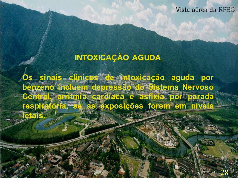 27 O registro de casos de intoxicação por benzeno no Brasil é relativamente baixo e localizado. Entre os fatores que influenciam esses dados podemos c