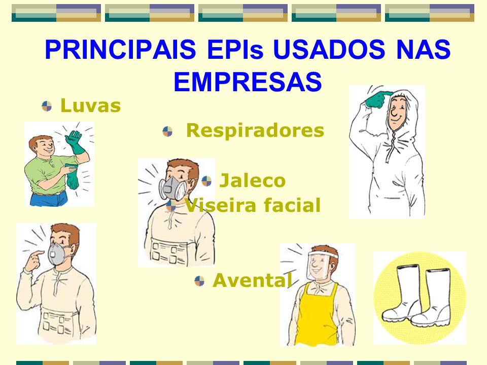PRINCIPAIS EPIs USADOS NAS EMPRESAS Luvas Respiradores Jaleco Viseira facial Avental