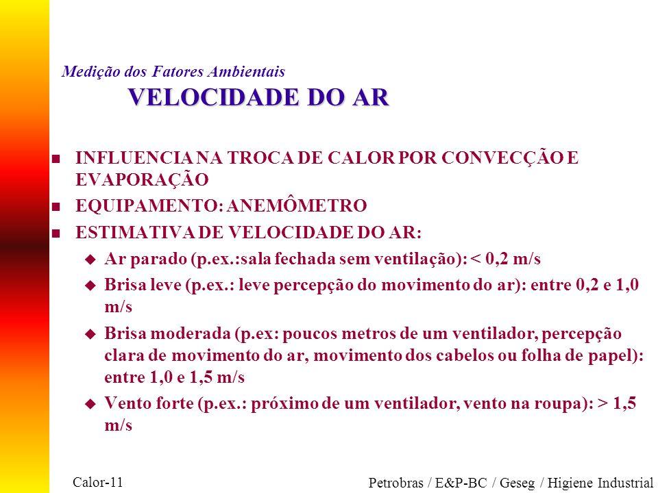 Calor-11 Petrobras / E&P-BC / Geseg / Higiene Industrial VELOCIDADE DO AR Medição dos Fatores Ambientais VELOCIDADE DO AR n INFLUENCIA NA TROCA DE CAL
