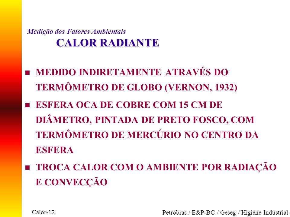 Calor-12 Petrobras / E&P-BC / Geseg / Higiene Industrial CALOR RADIANTE Medição dos Fatores Ambientais CALOR RADIANTE n MEDIDO INDIRETAMENTE ATRAVÉS D