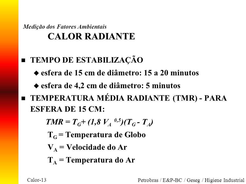 Calor-13 Petrobras / E&P-BC / Geseg / Higiene Industrial CALOR RADIANTE Medição dos Fatores Ambientais CALOR RADIANTE n TEMPO DE ESTABILIZAÇÃO u esfer
