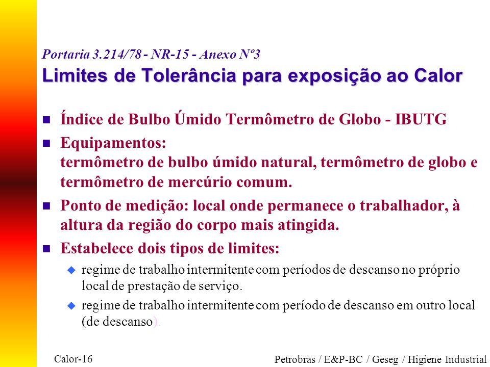 Calor-16 Petrobras / E&P-BC / Geseg / Higiene Industrial Limites de Tolerância para exposição ao Calor Portaria 3.214/78 - NR-15 - Anexo Nº3 Limites d