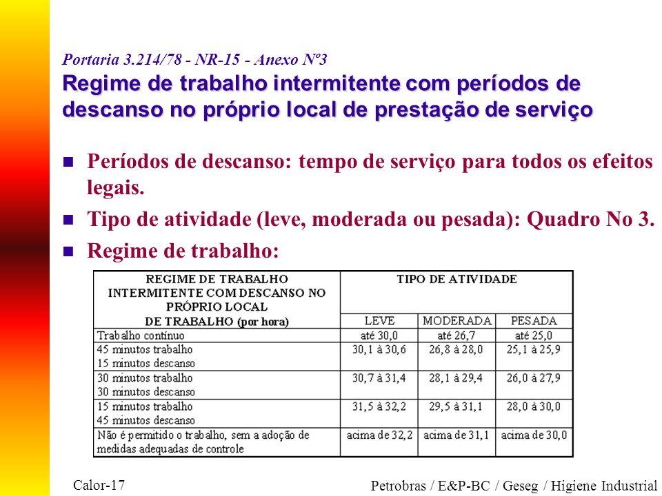 Calor-17 Petrobras / E&P-BC / Geseg / Higiene Industrial Regime de trabalho intermitente com períodos de descanso no próprio local de prestação deserv
