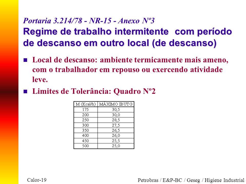 Calor-19 Petrobras / E&P-BC / Geseg / Higiene Industrial Regime de trabalho intermitente com período de descanso em outro local (de descanso) Portaria