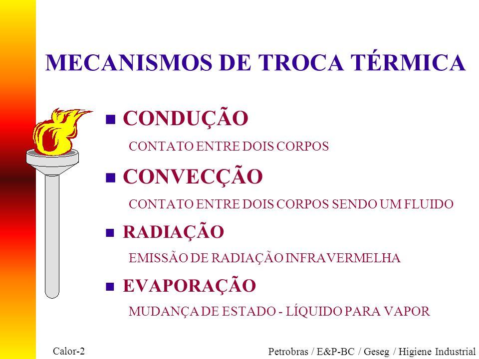 Calor-2 Petrobras / E&P-BC / Geseg / Higiene Industrial MECANISMOS DE TROCA TÉRMICA n CONDUÇÃO CONTATO ENTRE DOIS CORPOS n CONVECÇÃO CONTATO ENTRE DOI