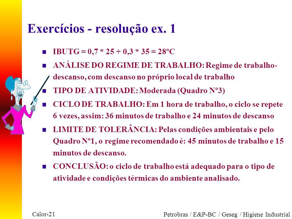 Calor-21 Petrobras / E&P-BC / Geseg / Higiene Industrial Exercícios - resolução ex. 1 n IBUTG = 0,7 * 25 + 0,3 * 35 = 28ºC n ANÁLISE DO REGIME DE TRAB