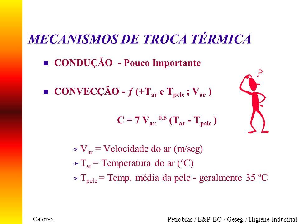 Calor-3 Petrobras / E&P-BC / Geseg / Higiene Industrial MECANISMOS DE TROCA TÉRMICA n CONDUÇÃO - Pouco Importante n CONVECÇÃO - ƒ (+T ar e T pele ; V