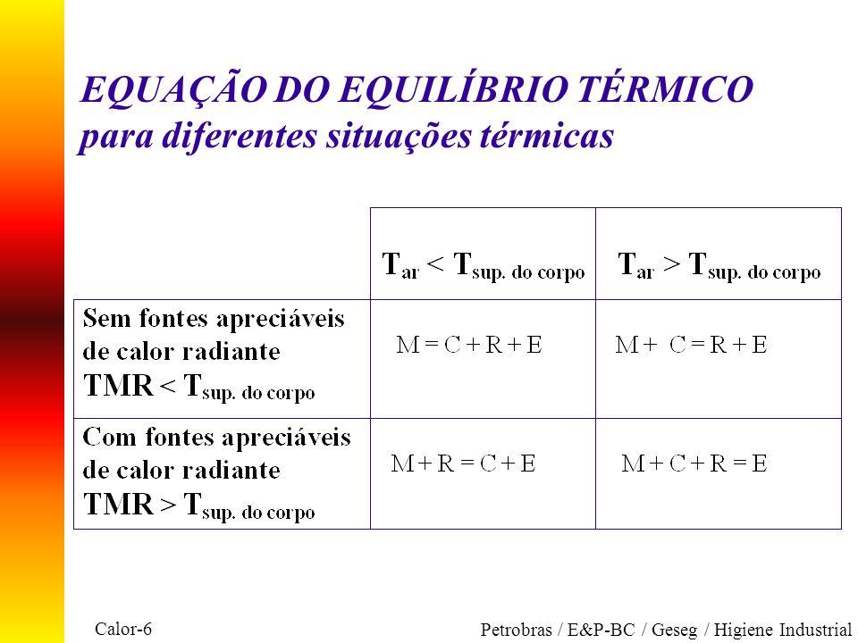 Calor-6 Petrobras / E&P-BC / Geseg / Higiene Industrial EQUAÇÃO DO EQUILÍBRIO TÉRMICO para diferentes situações térmicas
