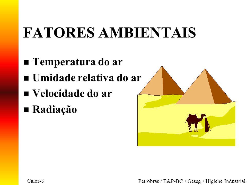 Calor-8 Petrobras / E&P-BC / Geseg / Higiene Industrial FATORES AMBIENTAIS n Temperatura do ar n Umidade relativa do ar n Velocidade do ar n Radiação