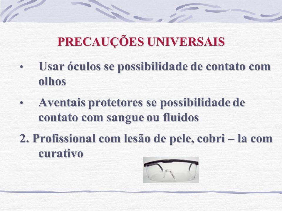PRECAUÇÕES UNIVERSAIS Usar óculos se possibilidade de contato com olhos Usar óculos se possibilidade de contato com olhos Aventais protetores se possi