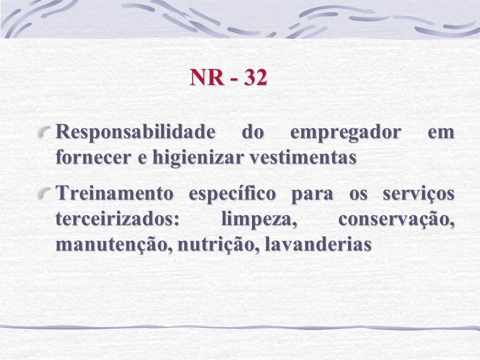NR - 32 Responsabilidade do empregador em fornecer e higienizar vestimentas Treinamento específico para os serviços terceirizados: limpeza, conservaçã