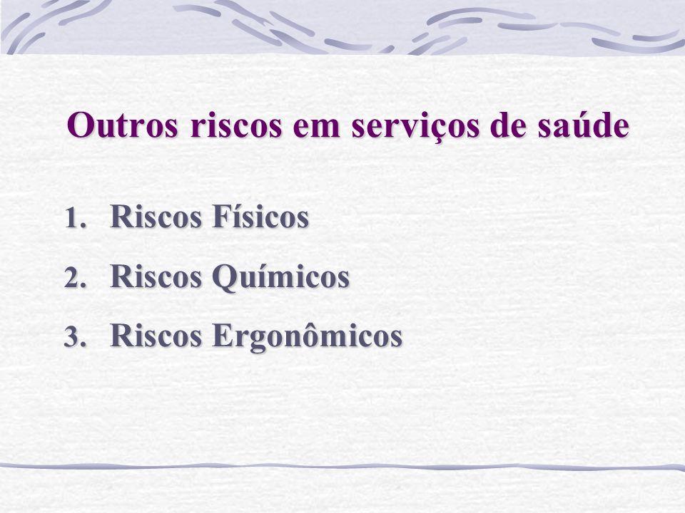 Outros riscos em serviços de saúde 1. Riscos Físicos 2. Riscos Químicos 3. Riscos Ergonômicos