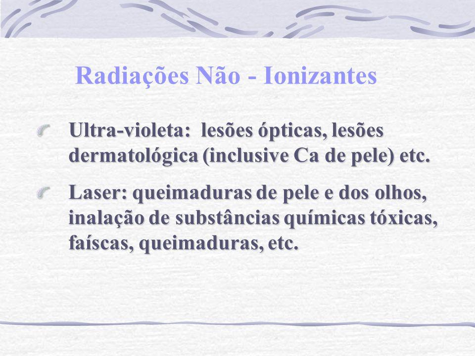 Radiações Não - Ionizantes Ultra-violeta: lesões ópticas, lesões dermatológica (inclusive Ca de pele) etc. Laser: queimaduras de pele e dos olhos, ina