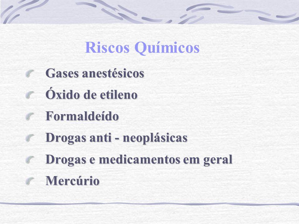 Riscos Químicos Gases anestésicos Óxido de etileno Formaldeído Drogas anti - neoplásicas Drogas e medicamentos em geral Mercúrio