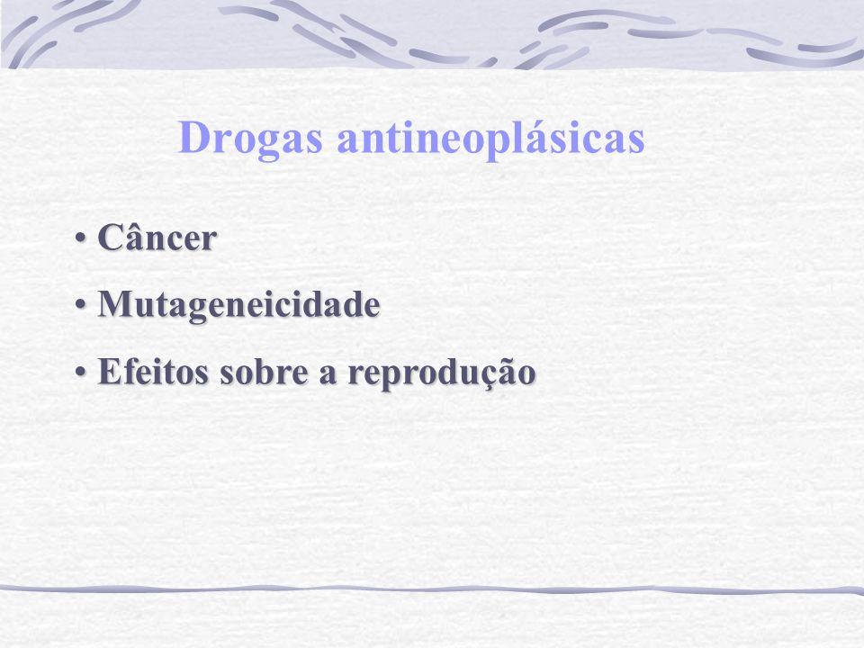 Drogas antineoplásicas Câncer Câncer Mutageneicidade Mutageneicidade Efeitos sobre a reprodução Efeitos sobre a reprodução