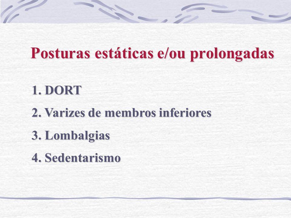 Posturas estáticas e/ou prolongadas 1. DORT 2. Varizes de membros inferiores 3. Lombalgias 4. Sedentarismo