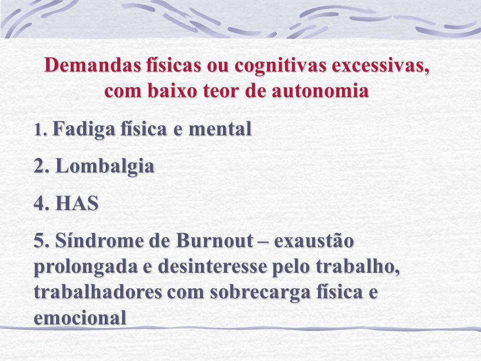 Demandas físicas ou cognitivas excessivas, com baixo teor de autonomia 1. Fadiga física e mental 2. Lombalgia 4. HAS 5. Síndrome de Burnout – exaustão
